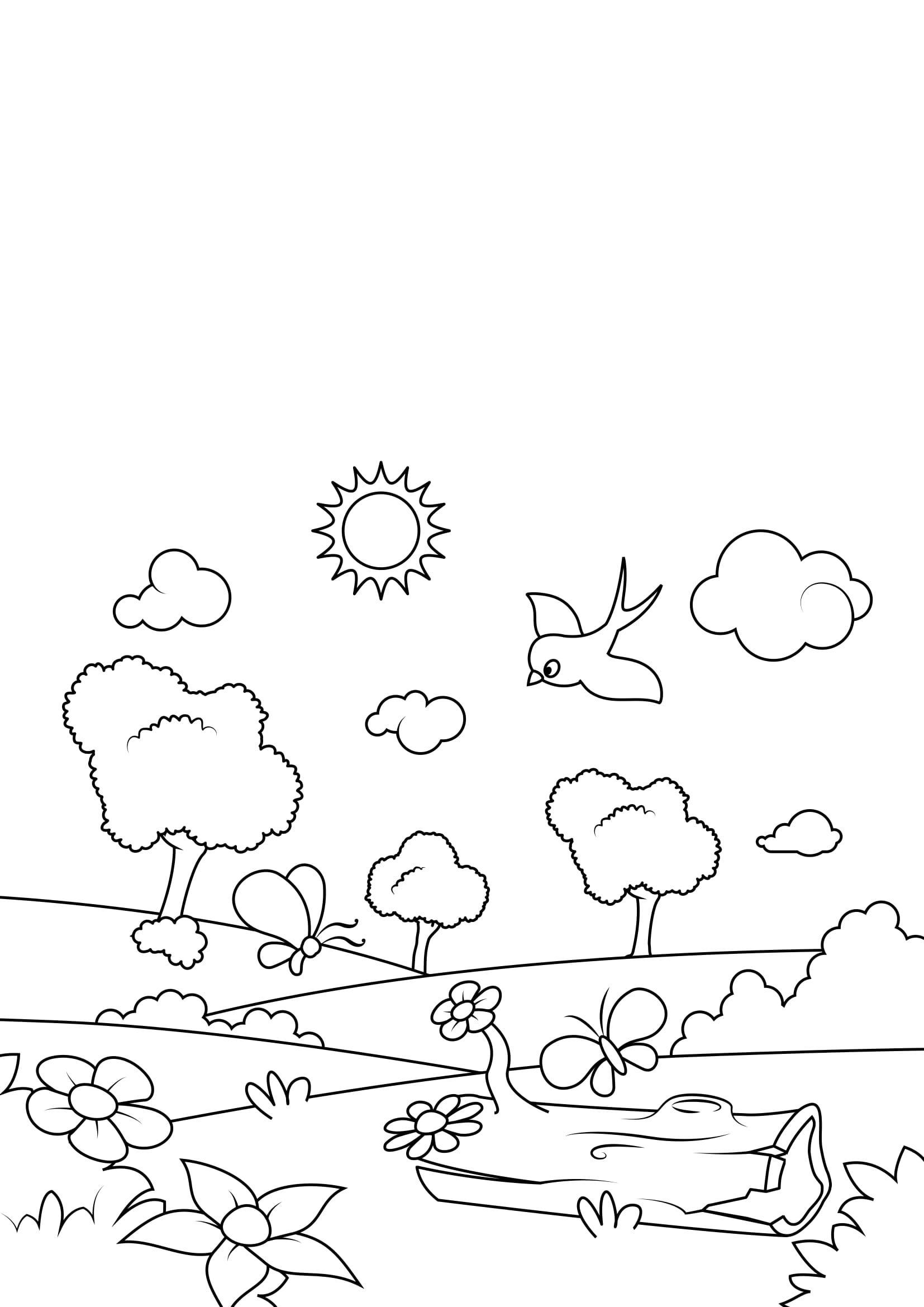 Malvorlage Frühling im Wald - Kostenlose Ausmalbilder Zum