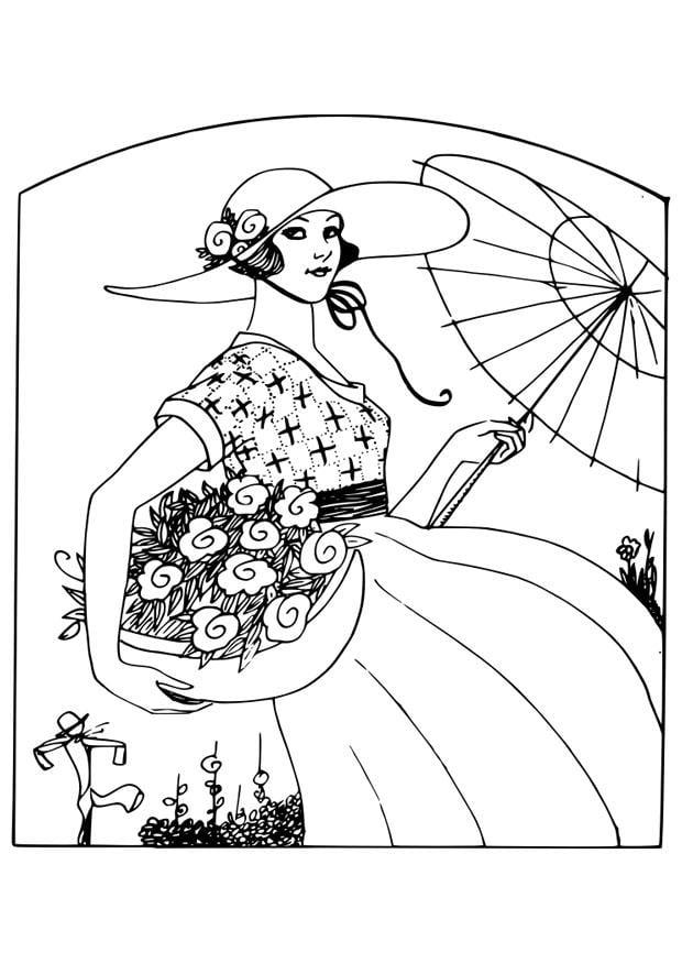 Malvorlage Frau mit Blumen - Kostenlose Ausmalbilder Zum