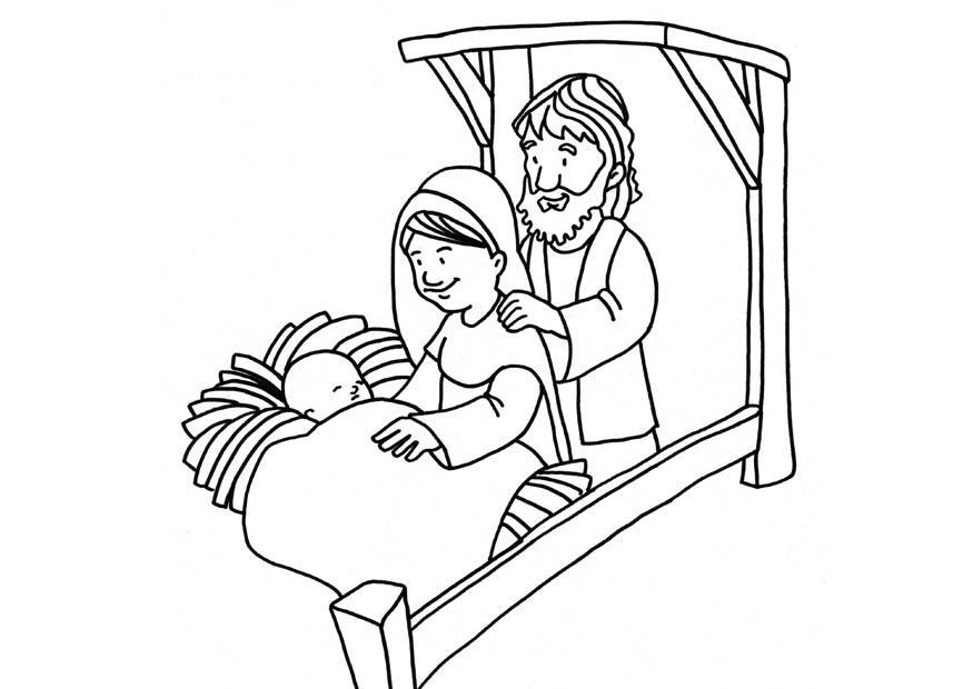 Malvorlage Geburt Jesus - Kostenlose Ausmalbilder Zum