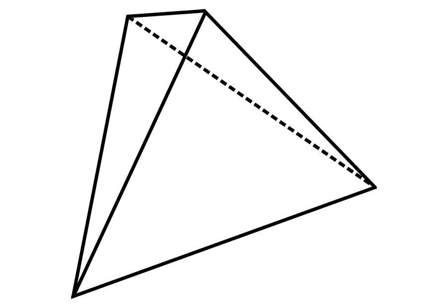 Malvorlage geometrische Figur - Tetraeder - Kostenlose