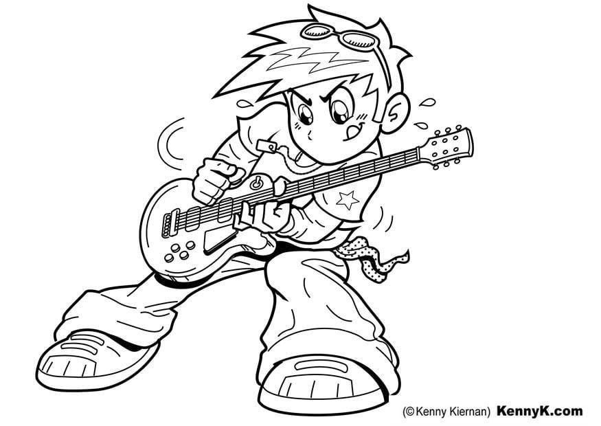 Malvorlage Gitarre spielen - Kostenlose Ausmalbilder Zum