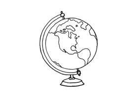 Malvorlage Globus   Ausmalbild 15640.