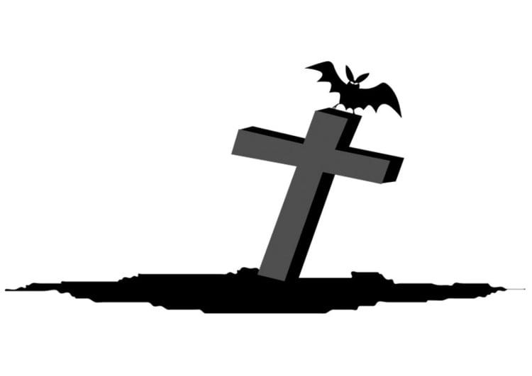 Malvorlage Grab mit Fledermaus - Kostenlose Ausmalbilder