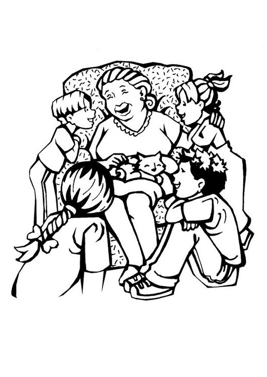 Malvorlage Grossmutter - Muttertag - Kostenlose