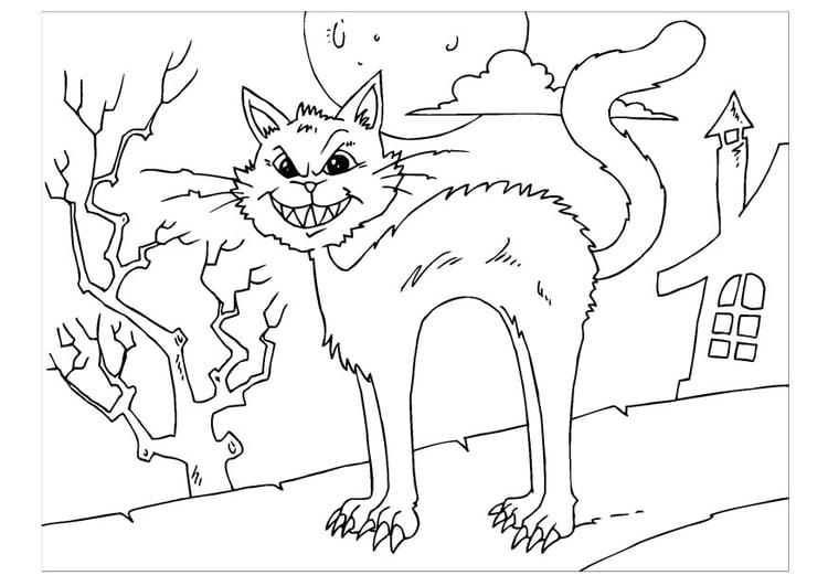 Malvorlage gruselige Katze - Kostenlose Ausmalbilder Zum