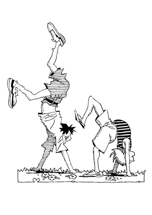 Malvorlage Handstand - Kostenlose Ausmalbilder Zum