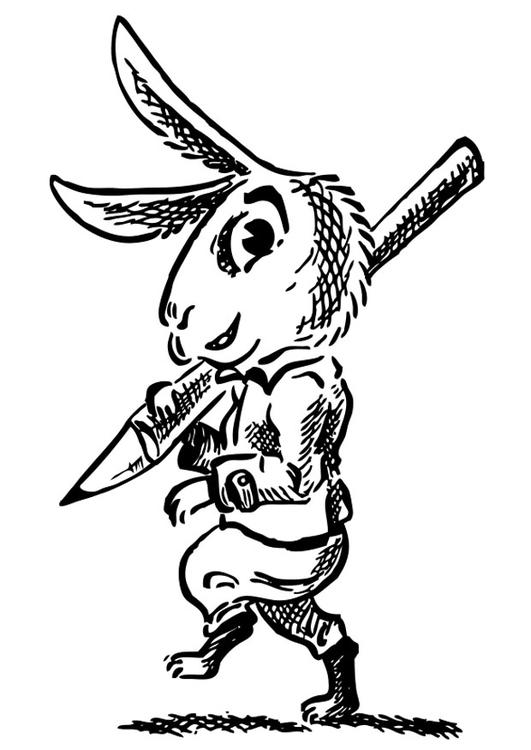 Malvorlage Hase mit Bleistift Ausmalbild 26409
