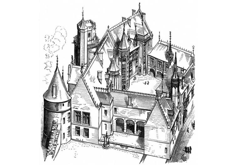 Malvorlage Haus in Frankreich - Bourges 1443 - Kostenlose
