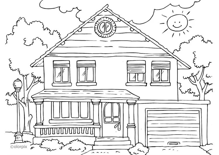 Malvorlage Haus von aussen - Kostenlose Ausmalbilder Zum