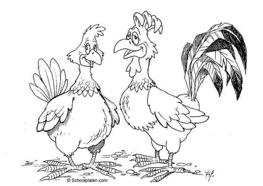 Malvorlage Henne und Hahn - Kostenlose Ausmalbilder Zum