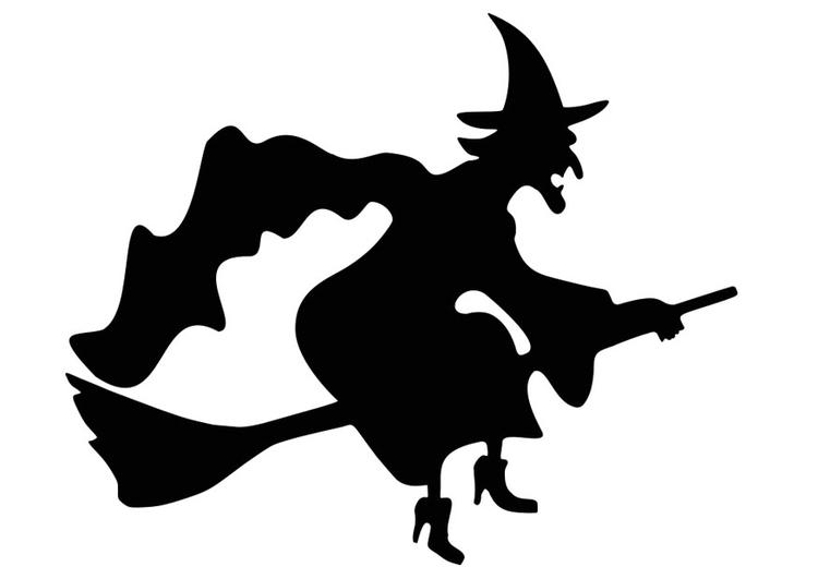 Malvorlage Hexe auf dem Besen - Kostenlose Ausmalbilder