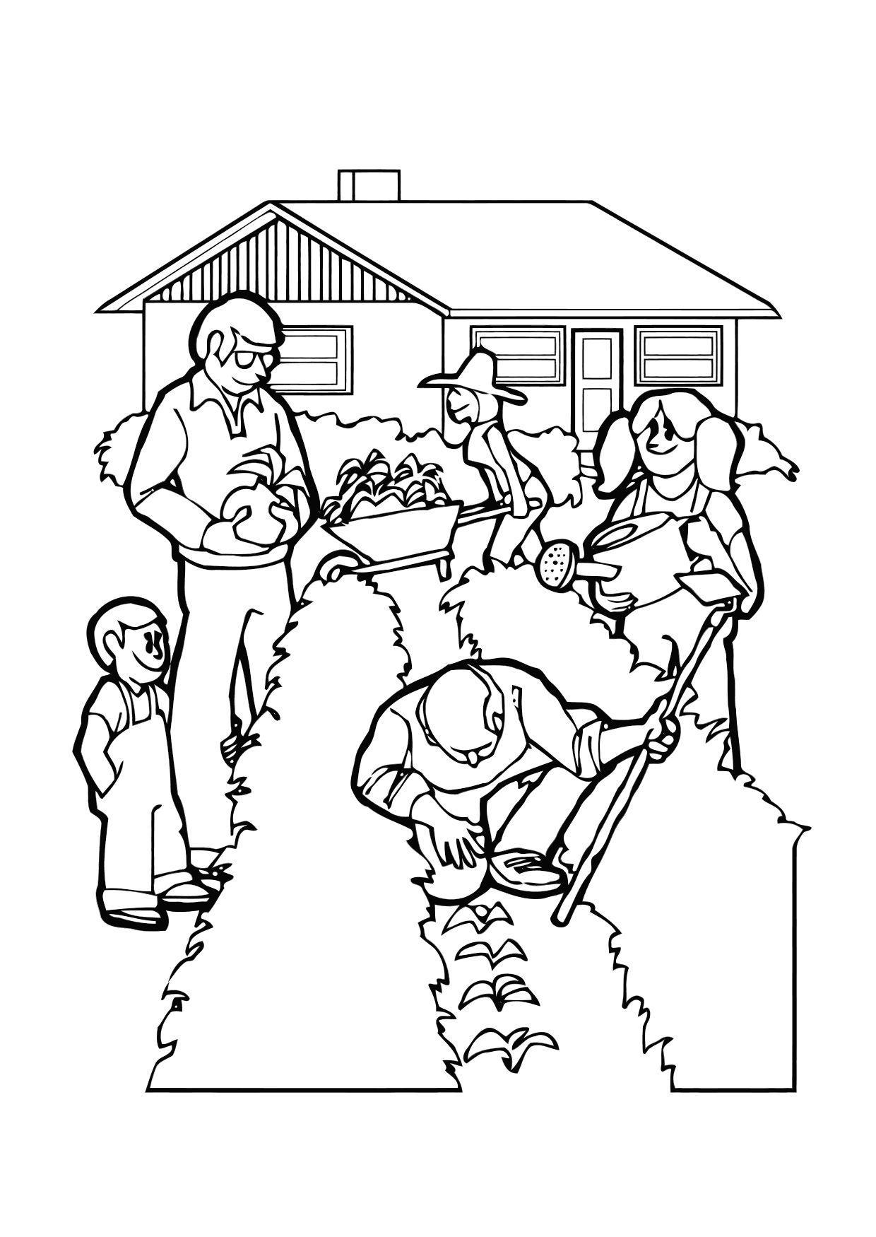 Malvorlage im Garten arbeiten - Kostenlose Ausmalbilder