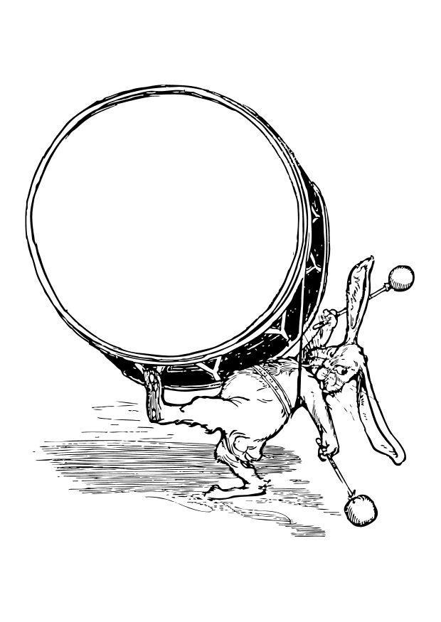 Malvorlage Kaninchen mit Trommel - Kostenlose Ausmalbilder