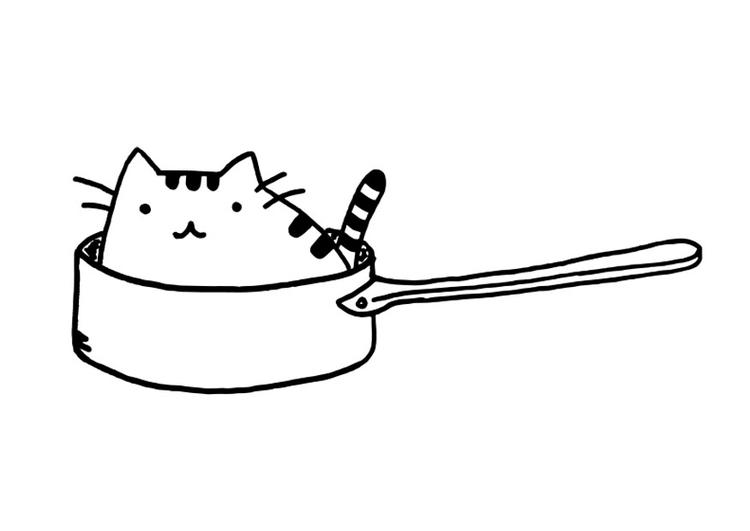 Malvorlage Katze in Pfanne - Kostenlose Ausmalbilder Zum