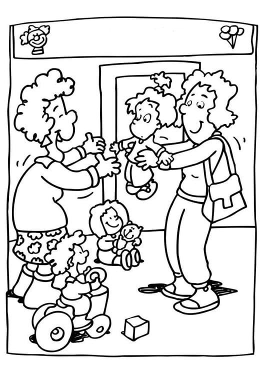Malvorlage Kindergarten - Kindertagesstätte - Kostenlose