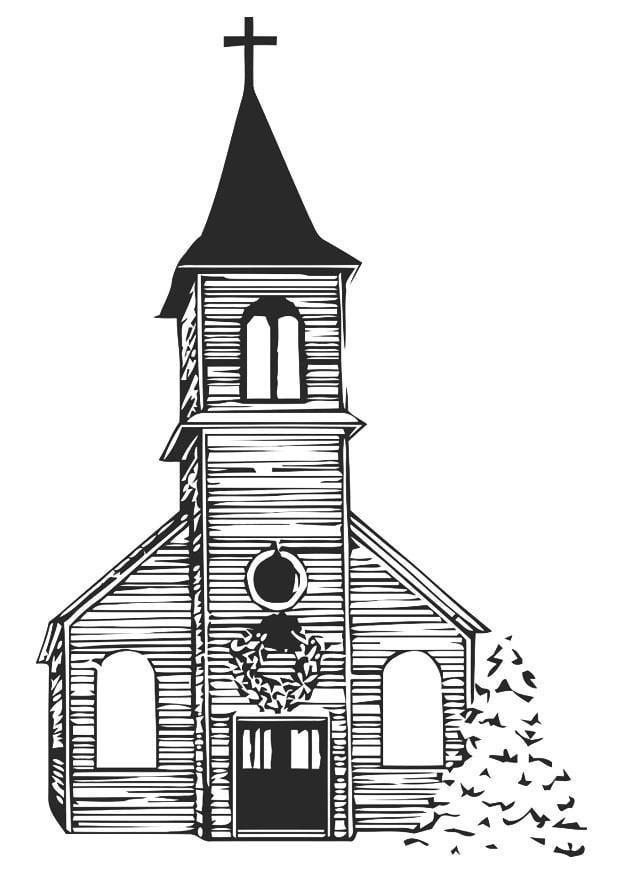 Malvorlage Kirche im Winter - Kostenlose Ausmalbilder Zum