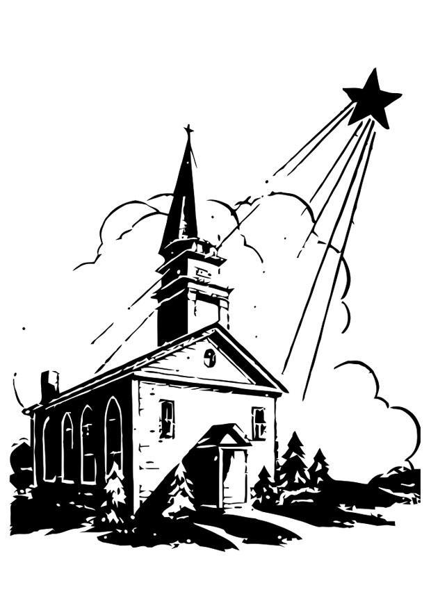 Malvorlage Kirche mit Weihnachtsstern - Kostenlose