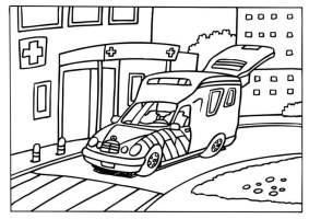 Malvorlage Krankenwagen   Ausmalbild 6572.