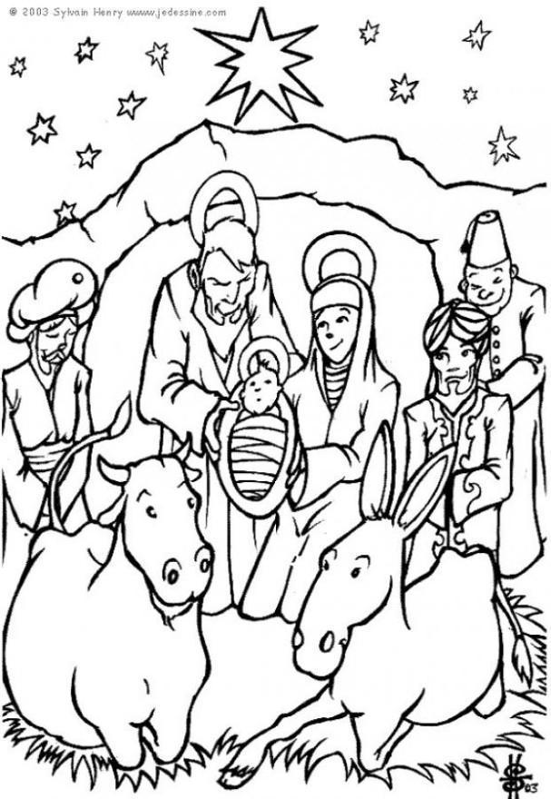 Malvorlage Krippe Weihnachten - Kostenlose Ausmalbilder