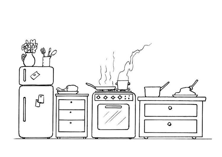 Malvorlage Küche - Kostenlose Ausmalbilder Zum Ausdrucken