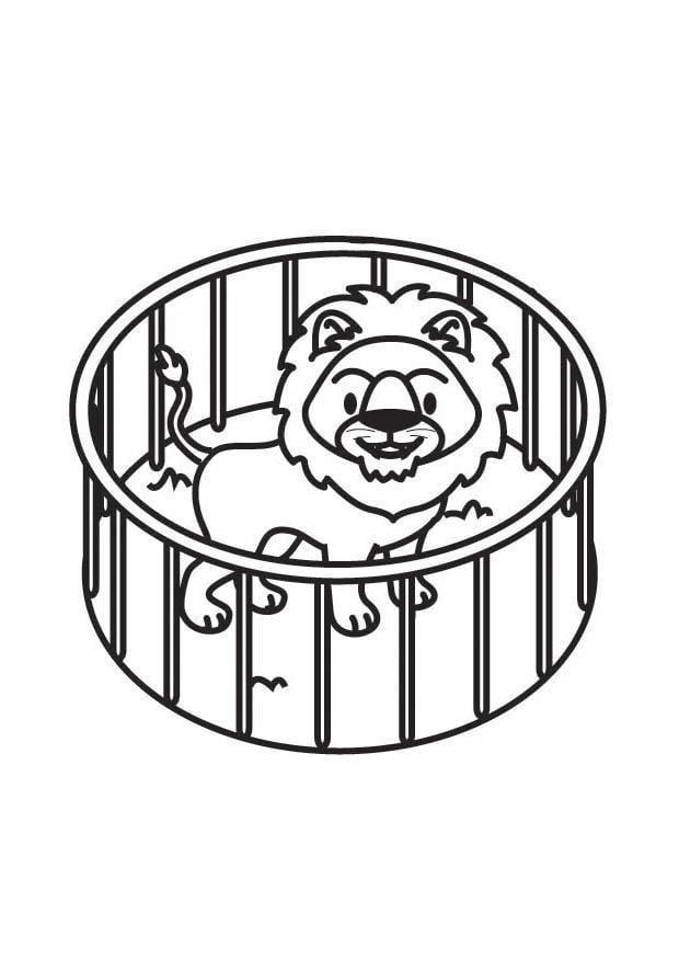 Malvorlage Löwe im Käfig - Kostenlose Ausmalbilder Zum