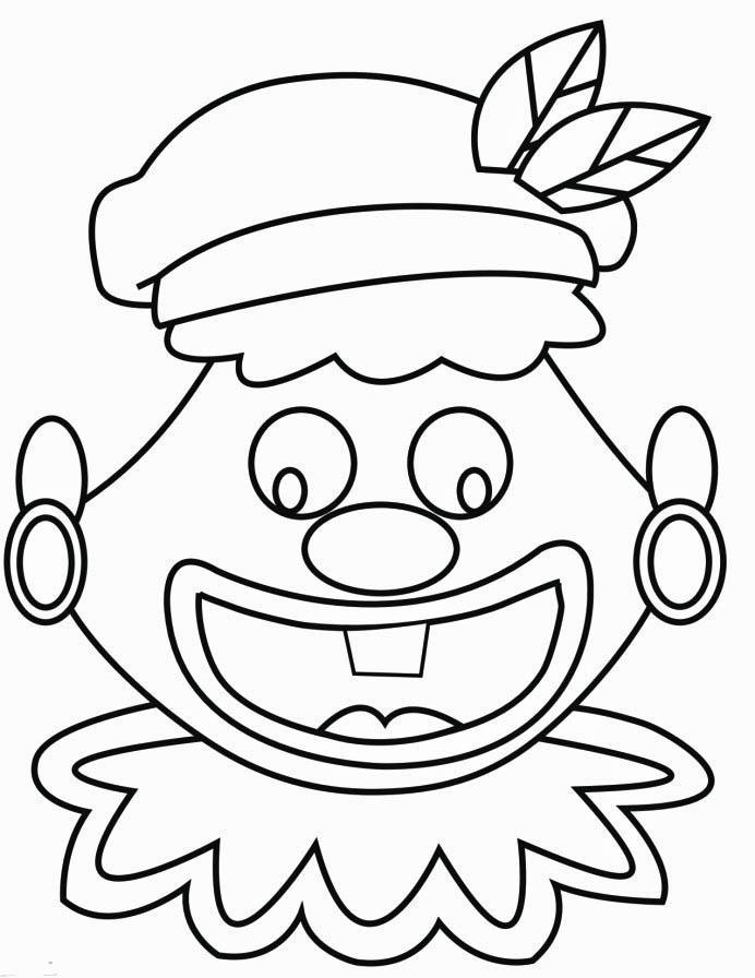 Malvorlage lustiges Gesicht vom schwarzen Peter