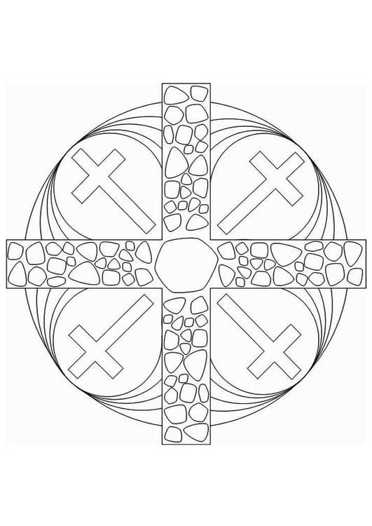 Malvorlage Mandala Kreuz - Kostenlose Ausmalbilder Zum
