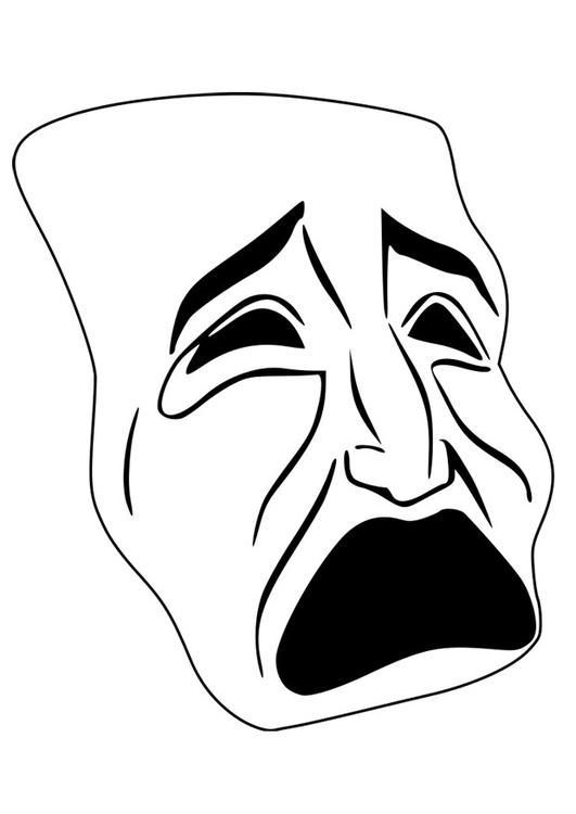 Malvorlage Maske - weinen - Kostenlose Ausmalbilder Zum