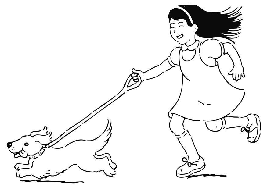 Malvorlage mit dem Hund spazieren gehen - Kostenlose
