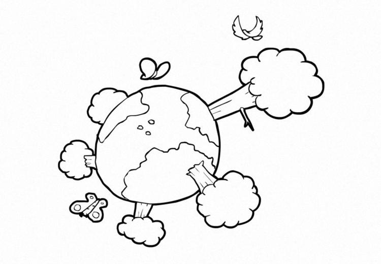 Malvorlage Natur - Klima - die Erde - Kostenlose