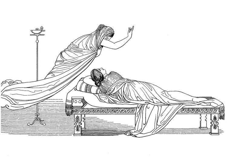Malvorlage Odysseus - Minerva und die Königin - Kostenlose