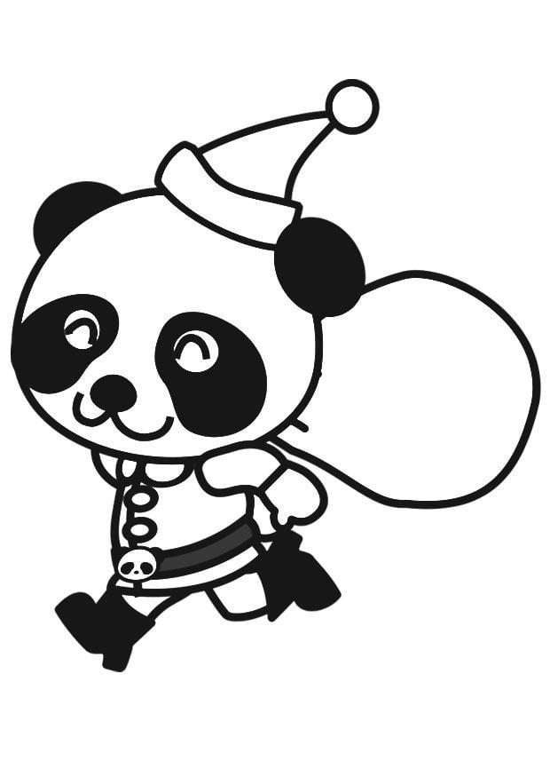 Malvorlage Panda im Weihnachtskostüm - Kostenlose
