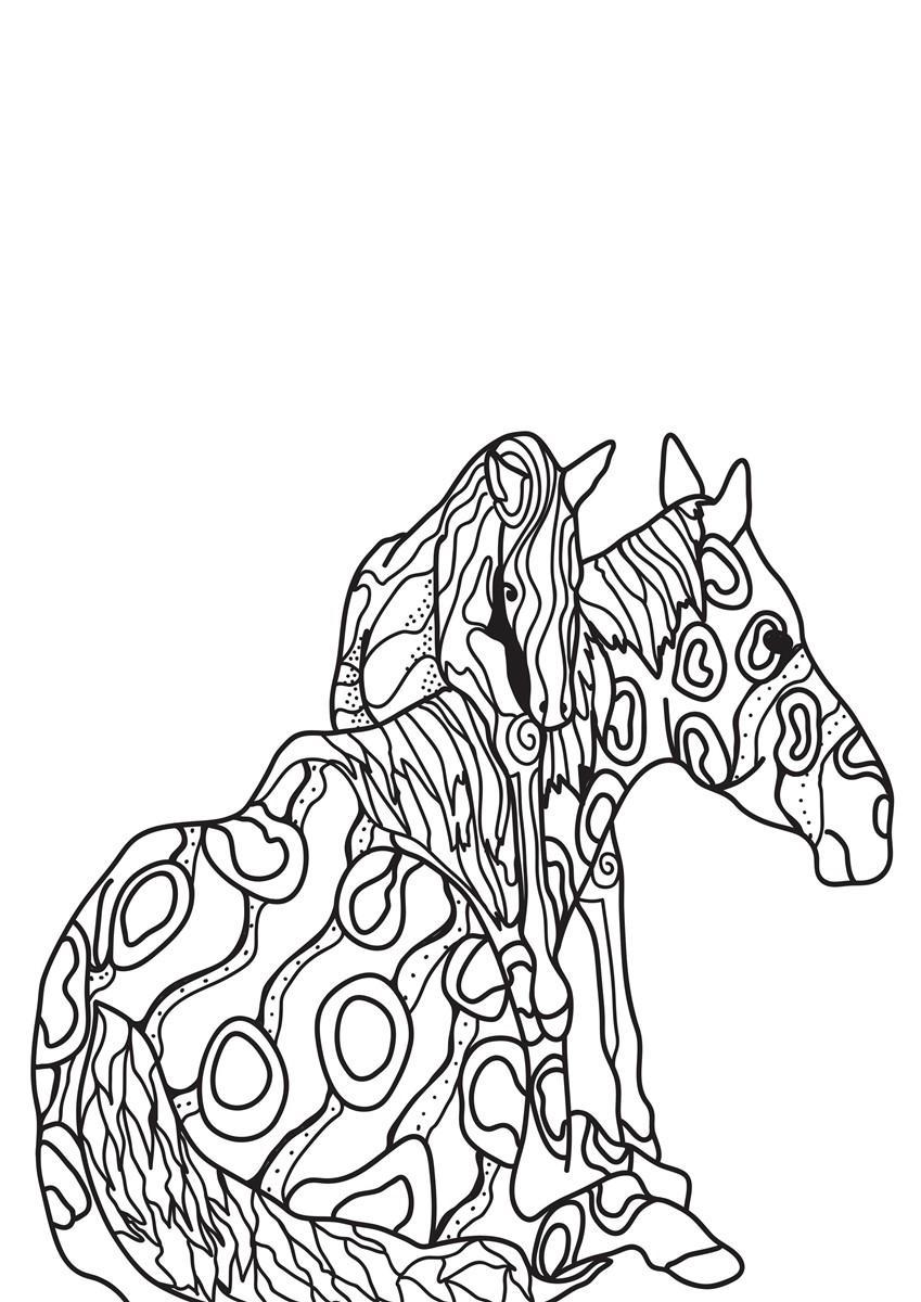 Malvorlage Pferd mit Fohlen - Kostenlose Ausmalbilder Zum