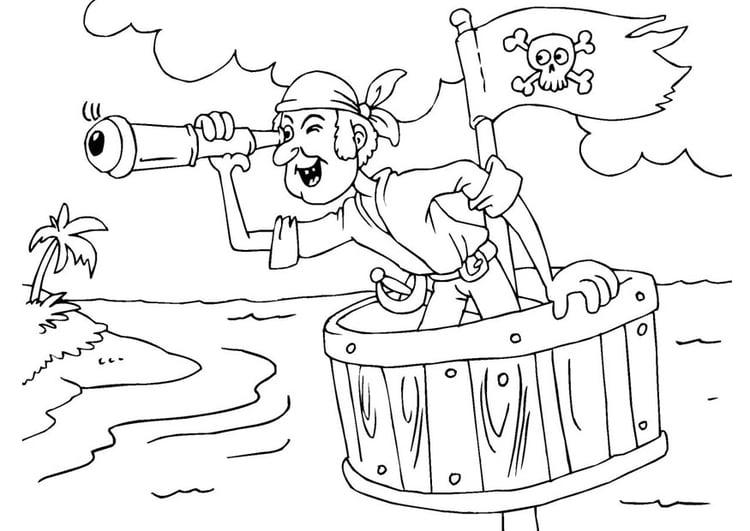 Malvorlage Pirat im Ausguck - Kostenlose Ausmalbilder Zum
