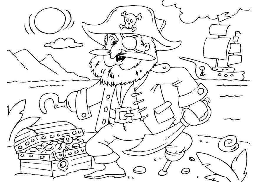 Malvorlage Pirat mit Schatzkiste - Kostenlose Ausmalbilder
