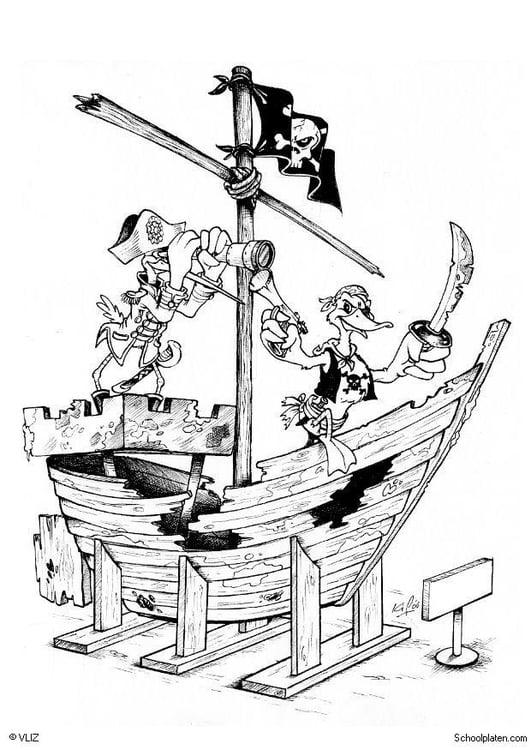 Malvorlage Piratenschiff - Kostenlose Ausmalbilder Zum