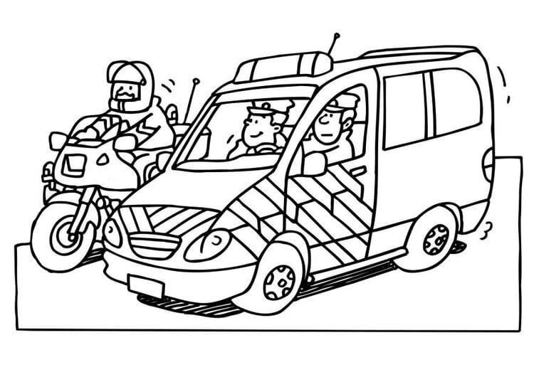 Malvorlage Polizei - Kostenlose Ausmalbilder Zum