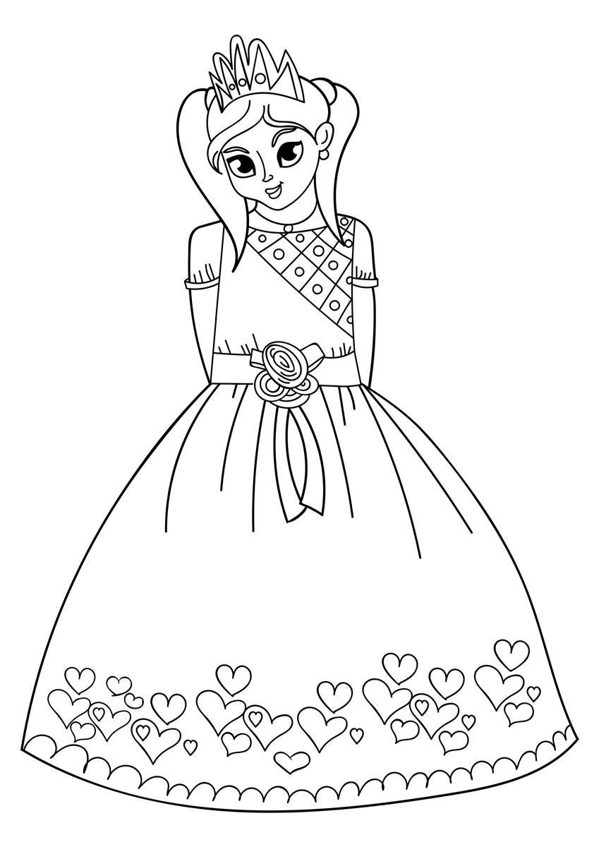 Malvorlage Prinzessin - Kostenlose Ausmalbilder Zum