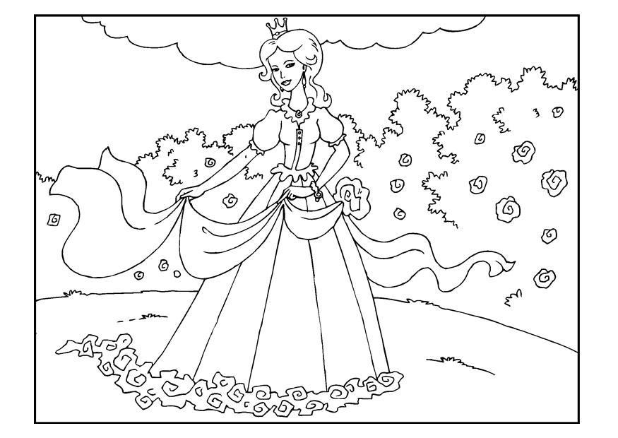 Malvorlage Prinzessin im Garten - Kostenlose Ausmalbilder