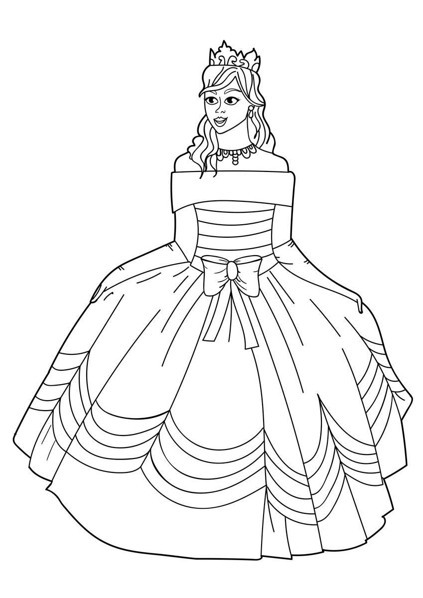 Malvorlage Prinzessin mit Kleid - Kostenlose Ausmalbilder