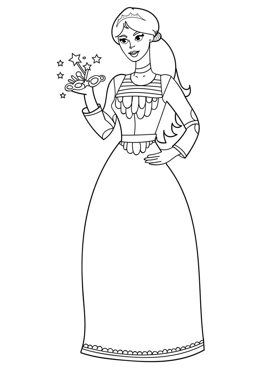 Malvorlage Prinzessin mit Maske - Kostenlose Ausmalbilder