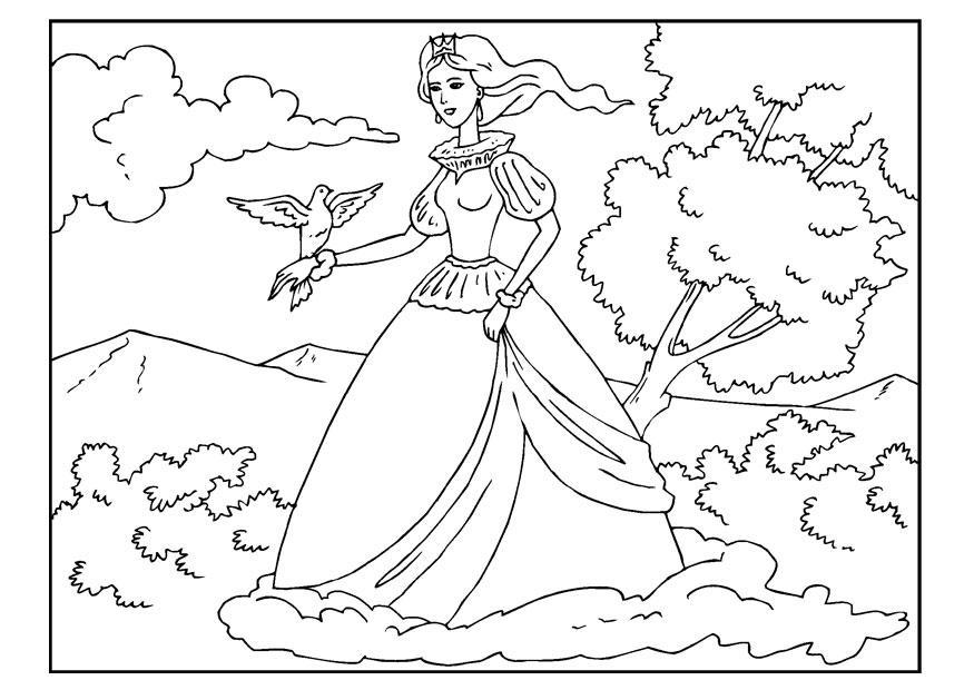Malvorlage Prinzessin mit Taube - Kostenlose Ausmalbilder