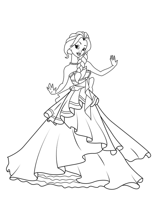 Malvorlage Prinzessin tanzt - Kostenlose Ausmalbilder Zum