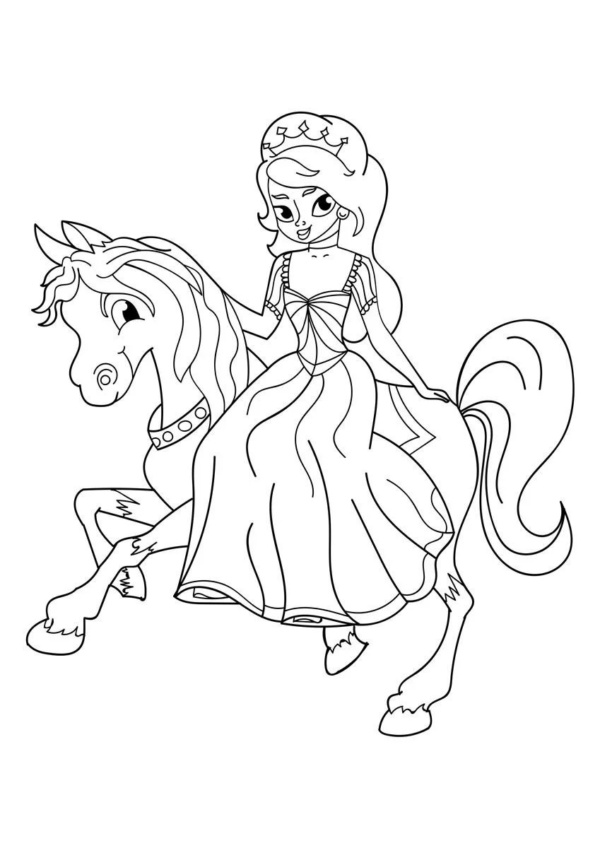 Malvorlage Prinzessin zu Pferd - Kostenlose Ausmalbilder