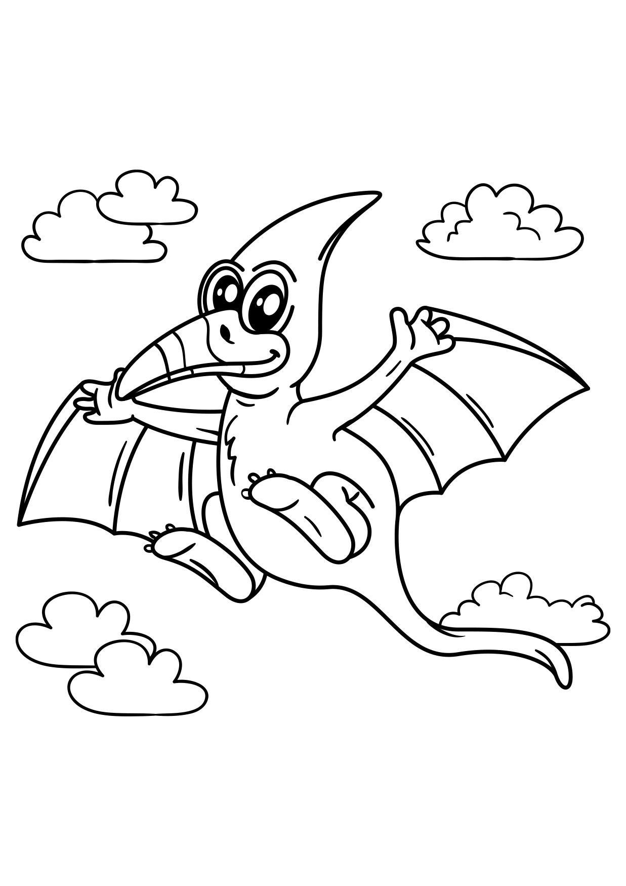 Malvorlage Pteranodon fliegender Dinosaurier - Kostenlose