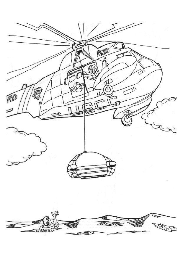 Malvorlage Rettungsaktion mit Hubschrauber - Kostenlose