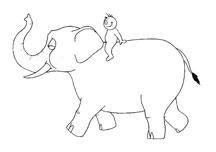 Malvorlage 07b Ritt auf dem Elefanten - Kostenlose