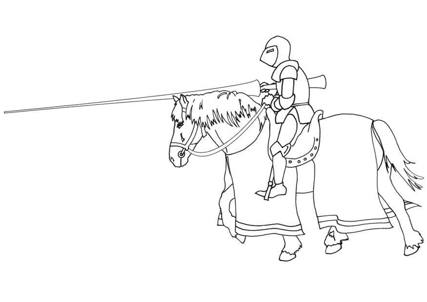 Malvorlage Ritter zu Pferd - Kostenlose Ausmalbilder Zum