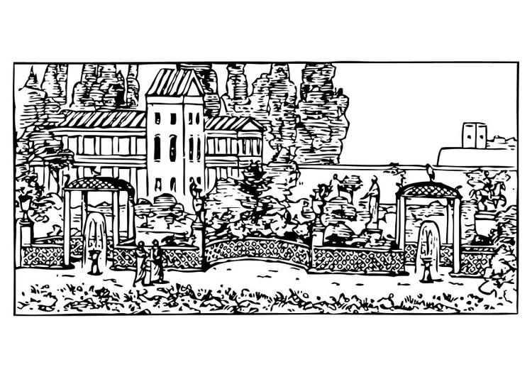 Malvorlage römischer Garten - Kostenlose Ausmalbilder Zum
