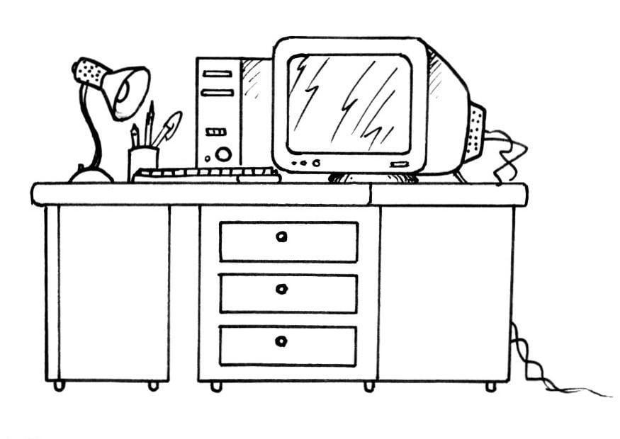 Malvorlage Schreibtisch mit Computer - Kostenlose